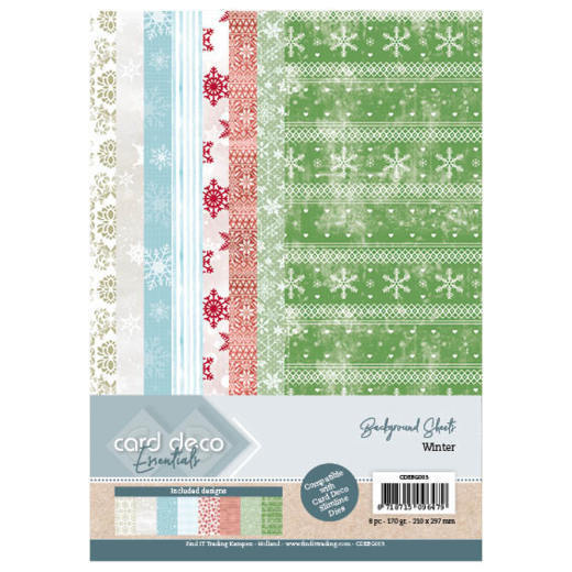CDEBG003 Card Deco Essentials Back Ground Sheets - Winter